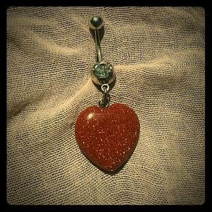 Belly Ring Gold Sandstone dangle heart